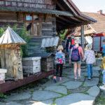 Dzieci wchodzą do drewnianej chaty, przy której ustawionych jest sześć uli różnego kształtu.