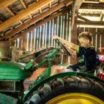 Maszyny rolnicze w stodole. Chłopiec siedzący na traktorze.